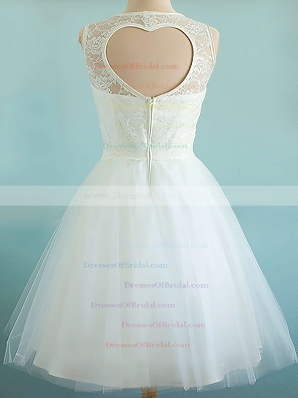 Scoop A-line Tea-length Tulle Satin Lace Wedding Dresses #DOB00020974