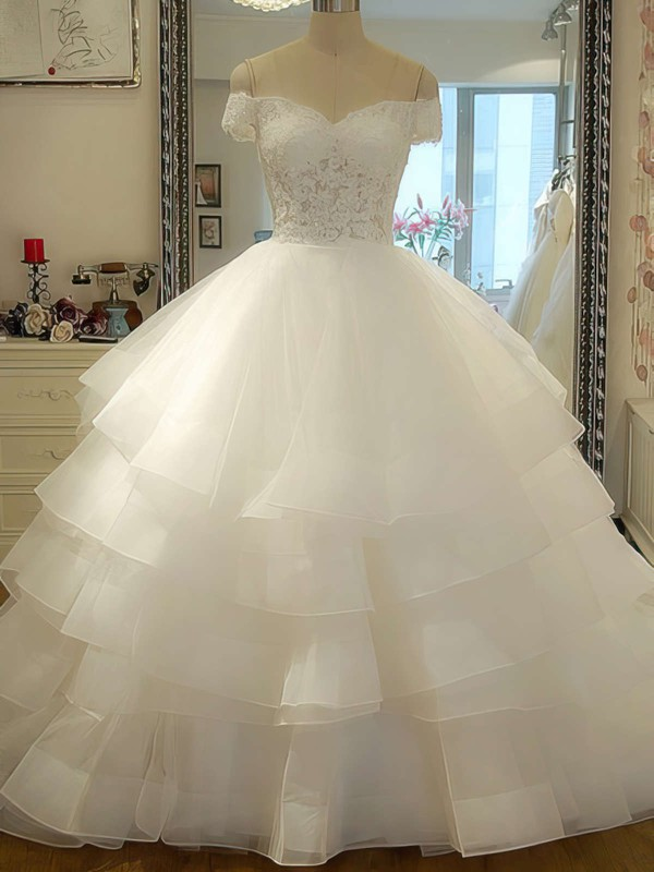 Off-the-shoulder Ball Gown Court Train Organza Tiered Wedding Dresses #DOB00020986