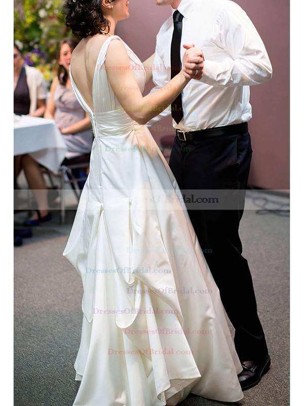 V-neck A-line Court Train Satin Ruffles Wedding Dresses #DOB00020991