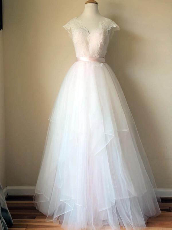 V-neck A-line Floor-length Tulle Satin Sashes/Ribbons Wedding Dresses #DOB00020993