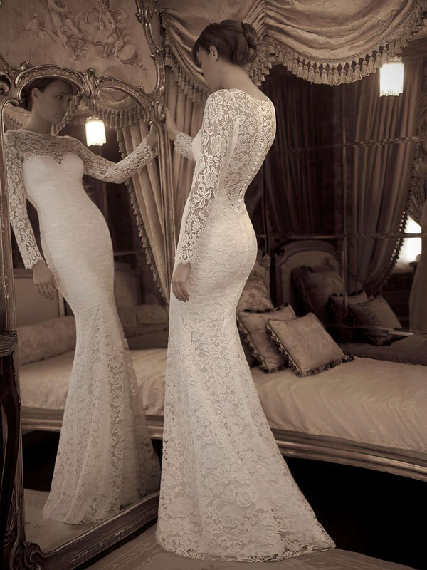Scoop Neck Trumpet/Mermaid Sweep Train Lace Ruffles Wedding Dresses #DOB02016861