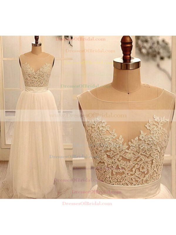 Scoop Neck A-line Sweep Train Tulle Beading Wedding Dresses #DOB02016882