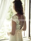 V-neck A-line Sweep Train Tulle Lace Wedding Dresses #DOB02016957