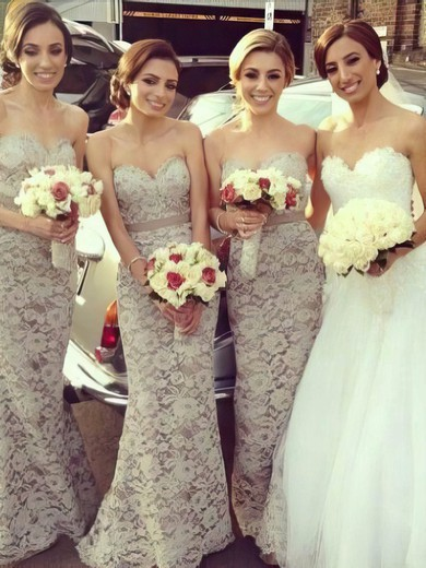 Sweep Train Light Slate Gray Lace Sashes/Ribbons Designer Bridesmaid Dresses #DOB01012222