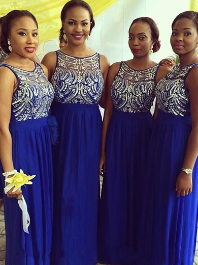 Empire Royal Blue Chiffon Tulle with Beading Scoop Neck Unique Bridesmaid Dresses #DOB01012227