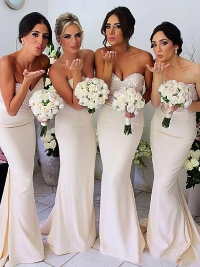 Discount Trumpet/Mermaid Silk-like Satin Sequined Sashes/Ribbons Ivory Bridesmaid Dresses #DOB01012230