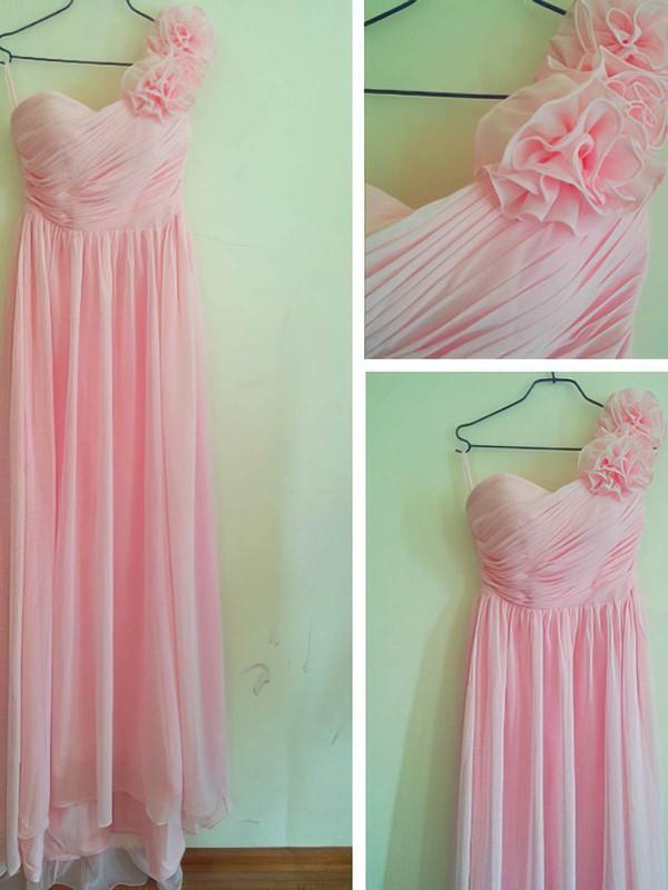 Sweetheart Sheath/Column Floor-length Chiffon Flower(s) Bridesmaid Dresses #DOB02016880