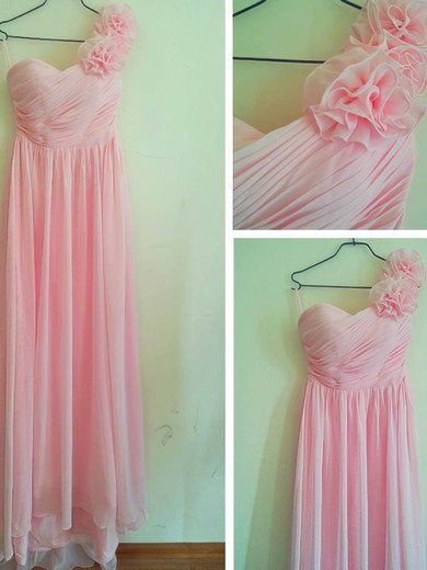 Sweetheart Sheath/Column Floor-length Chiffon Flower(s) Bridesmaid Dresses #DOB02016880