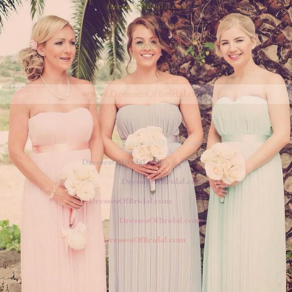 Strapless A-line Floor-length Chiffon Bow Bridesmaid Dresses #DOB02016950