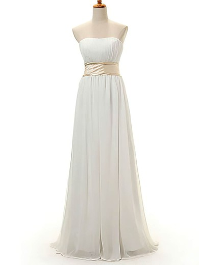 Strapless A-line Floor-length Chiffon Bow Bridesmaid Dresses #DOB02016950