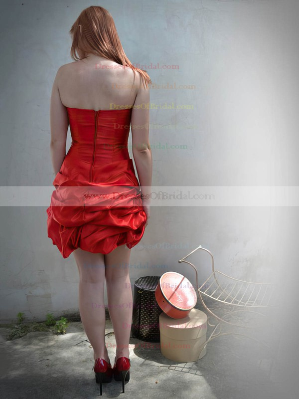 Strapless Sheath/Column Short/Mini Taffeta Pick-Ups Bridesmaid Dresses #DOB02018090