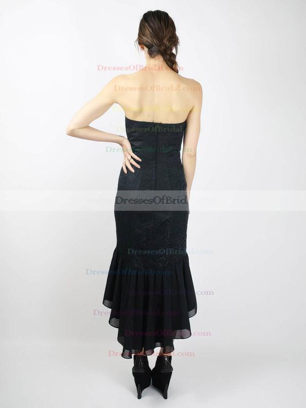 Sweetheart Sheath/Column Asymmetrical Lace Chiffon Satin Ruffles Bridesmaid Dresses #DOB02018098