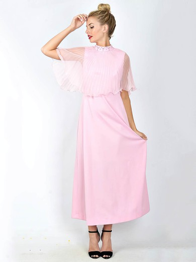 High Neck A-line Ankle-length Chiffon Satin Beading Bridesmaid Dresses #DOB02018101