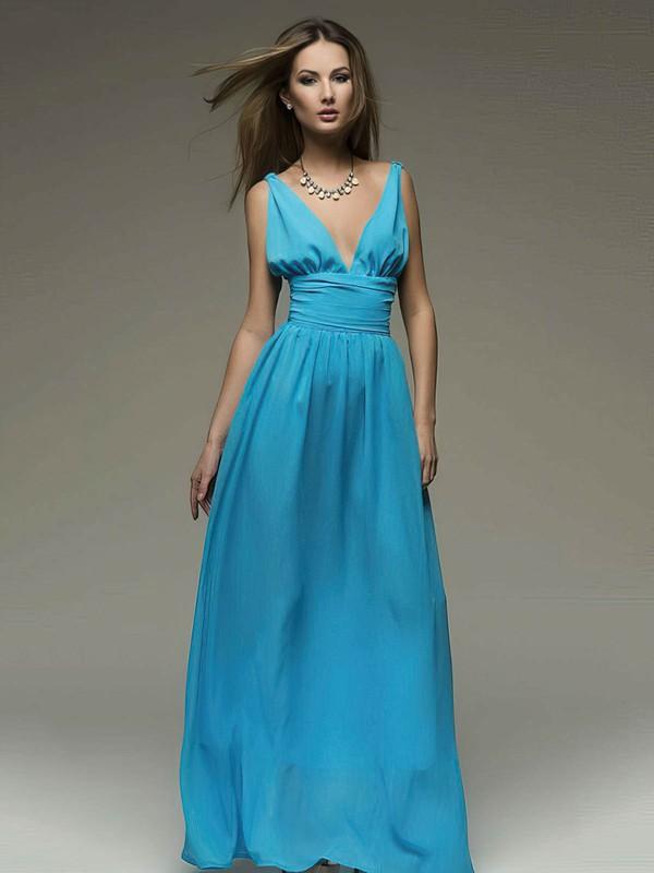 V-neck A-line Floor-length Chiffon Ruffles Bridesmaid Dresses #DOB02018110