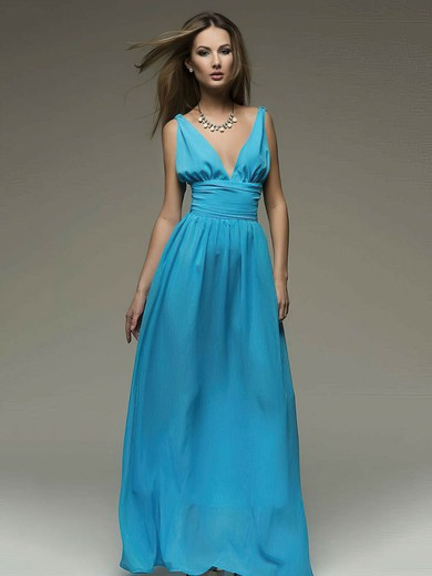 V-neck A-line Floor-length Chiffon Ruffles Bridesmaid Dresses #DOB02018110