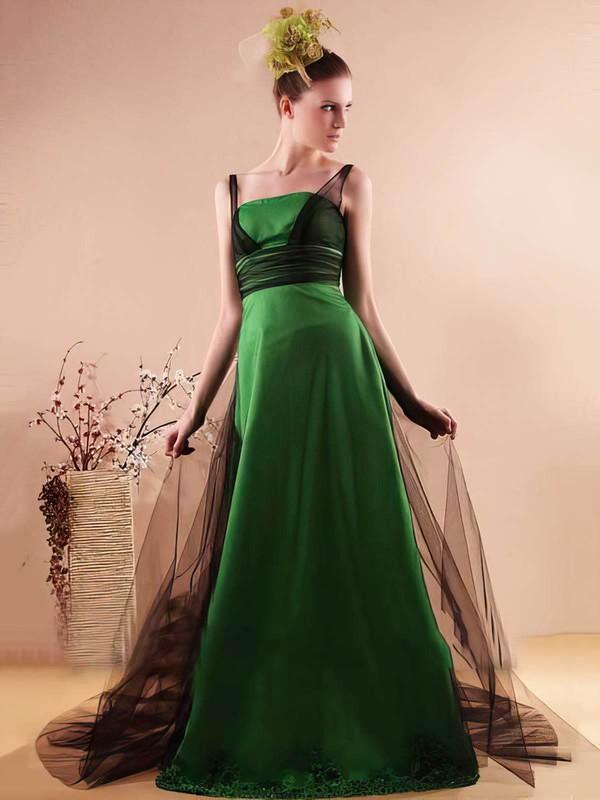 Scoop Neck A-line Watteau Train Tulle Elastic Woven Satin Beading Bridesmaid Dresses #DOB02018136