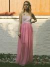 Sweetheart A-line Floor-length Lace Chiffon Ruffles Bridesmaid Dresses #DOB02018140