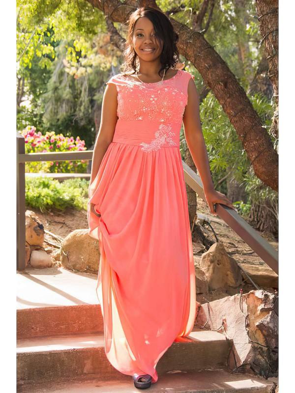 Scoop Neck A-line Floor-length Chiffon Beading Bridesmaid Dresses #DOB02018147