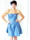 Strapless A-line Short/Mini Taffeta Ruffles Bridesmaid Dresses #DOB02018162