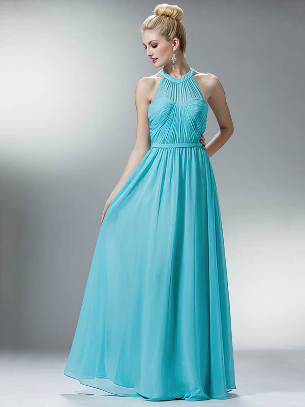 Scoop Neck A-line Floor-length Chiffon Sashes / Ribbons Bridesmaid Dresses #DOB02018167