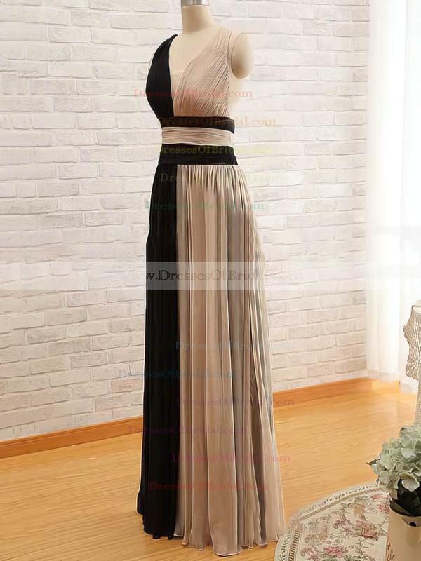 V-neck A-line Floor-length Chiffon Satin Tulle Ruffles Bridesmaid Dresses #DOB02018168