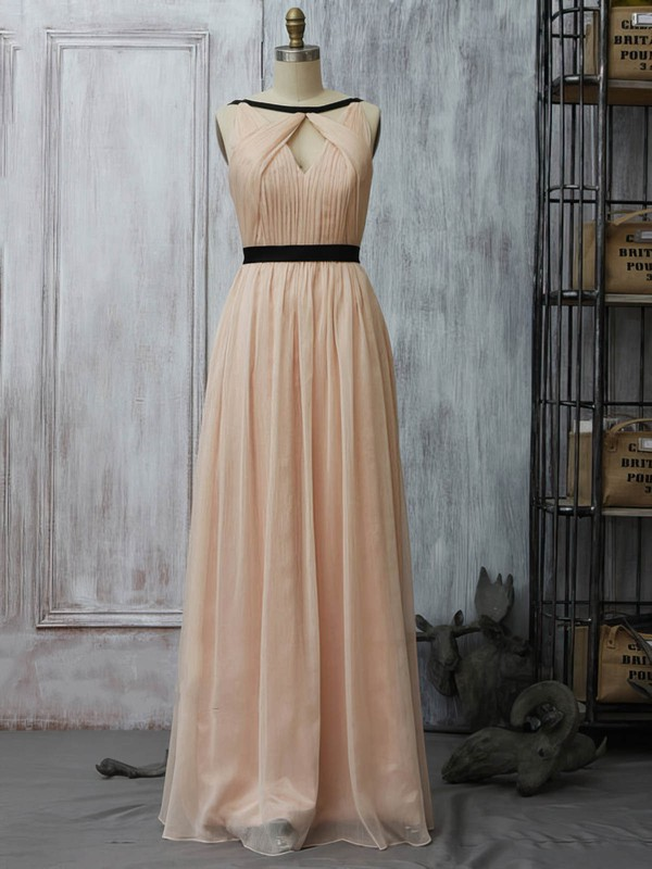 Scoop Neck A-line Floor-length Chiffon Sashes / Ribbons Bridesmaid Dresses #DOB02017961
