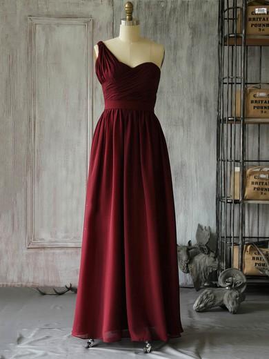One Shoulder A-line Floor-length Chiffon Ruffles Bridesmaid Dresses #DOB02017962