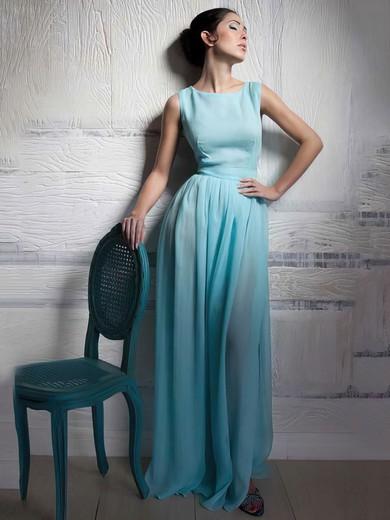 Scoop Neck A-line Floor-length Chiffon Elastic Woven Satin Sashes / Ribbons Bridesmaid Dresses #DOB02018015