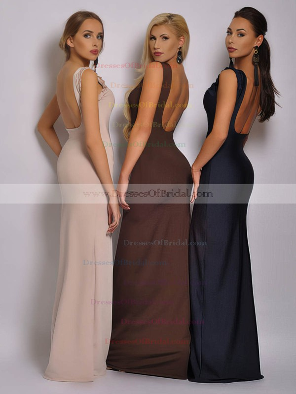 Square Neckline Sheath/Column Floor-length Chiffon Ruched Bridesmaid Dresses #DOB02018040
