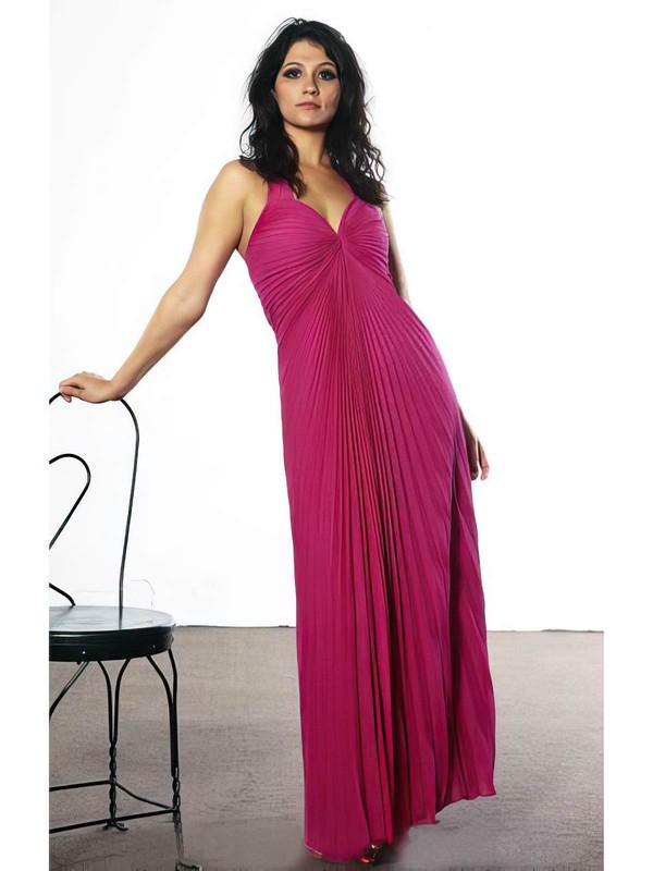 V-neck Empire Ankle-length Chiffon Split Front Bridesmaid Dresses #DOB02018041