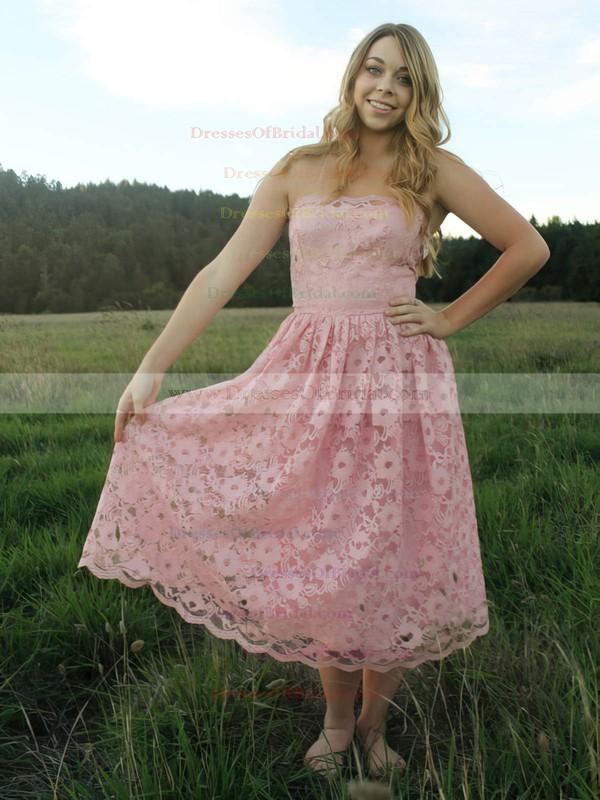 Strapless A-line Tea-length Lace Ruffles Bridesmaid Dresses #DOB02017787